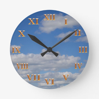 Blue Sky and Clouds - Gold Roman Numerals Round Clock