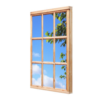 Blue Sky and Leaves 3D Effect Window View Picture Canvas Print