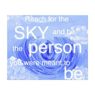 Blue Sky and Lotus Inspirational Canvas Print