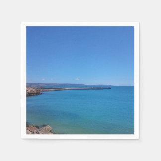 Blue Sky and Ocean Landscape Paper Napkin