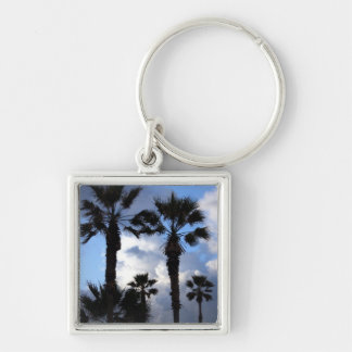 Blue Sky and Palm Trees Silver-Colored Square Keychain
