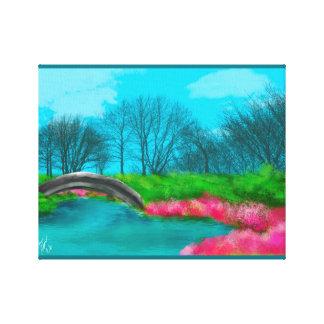 Blue Sky And River/ Landscape Bridge Canvas Print