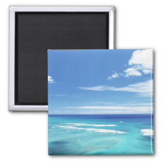 Blue sky and sea 17 square magnet