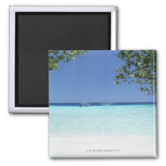 Blue sky and sea 9 square magnet