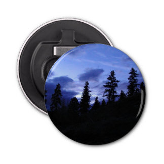 Blue Sky And Trees Silhouette Bottle Opener