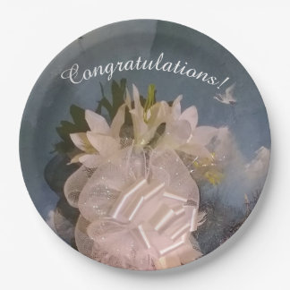 Blue Sky and White Lilies Paper Plates