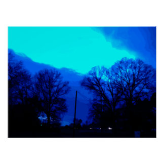 Blue Sky at Night Poster
