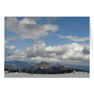Blue sky behind clouds greeting card