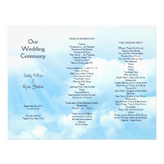 Blue Sky Clouds Tri-fold Wedding Program