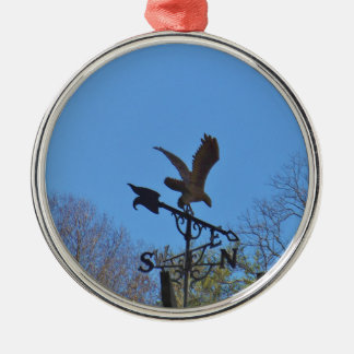 Blue sky, Eagle and Arrow Weather vane Silver-Colored Round Ornament