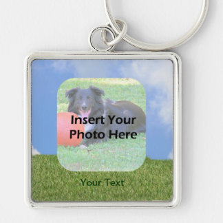Blue Sky Green Grass Photo Silver-Colored Square Keychain