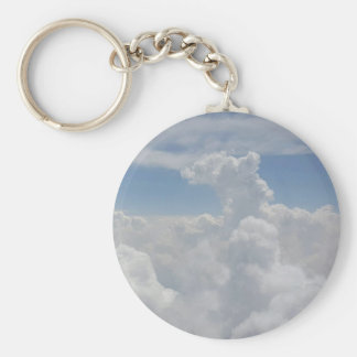 Blue Sky Nature White Puffy Cloud Formations Basic Round Button Keychain