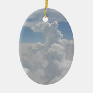 Blue Sky Nature White Puffy Cloud Formations Ceramic Oval Ornament