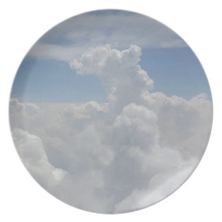 Blue Sky Nature White Puffy Cloud Formations Party Plates