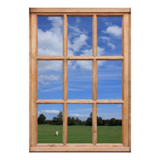 Blue Sky over the Park View - Faux Window Poster