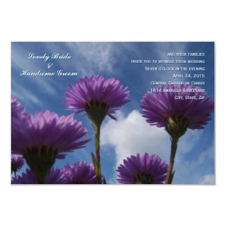 Blue Sky Purple Flower Small Wedding Invitation