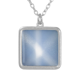 Blue Sky Snow Background Silver Plated Necklace