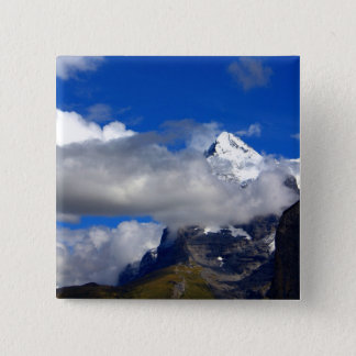 Blue Sky Snowy Mountain 2 Inch Square Button