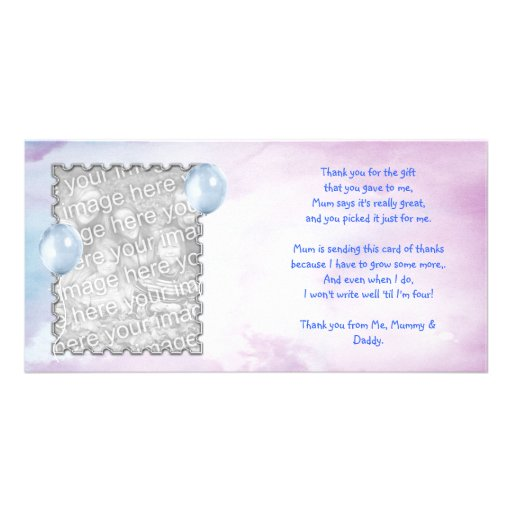 Blue sky Thank You Card from baby boy Customized Photo Card