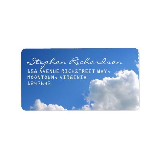 blue sky white clouds address labels