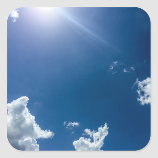 Blue Sky White Clouds Background Cloudy Skies Square Sticker