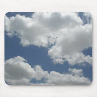 Blue Sky White Clouds Print Fun Mouse Pad