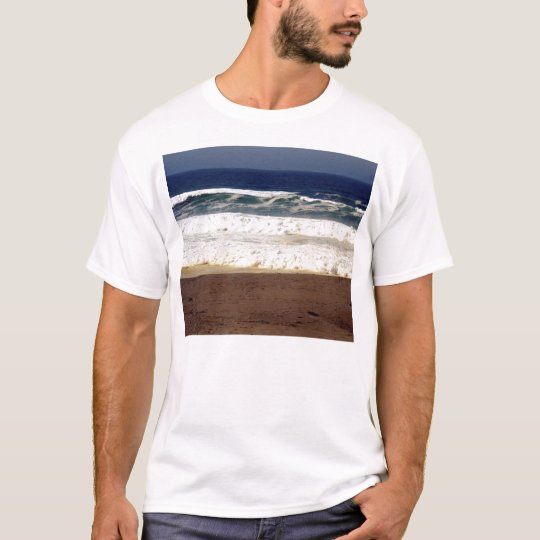 Blue Sky, White Waves, Brown Sand T-Shirt