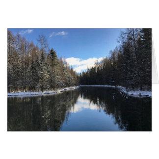 Blue Sky Winter Landscape Blank Greeting Card