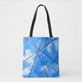 Blue Sky with Clouds and Powerlines Tote