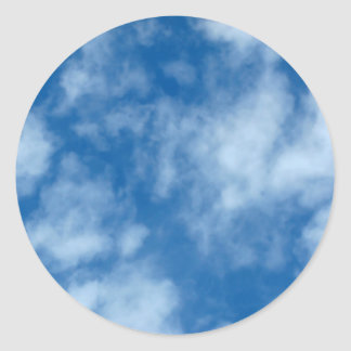 Blue Sky with Clouds Photo Classic Round Sticker