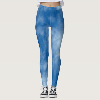 Blue Sky with Clouds Photo Leggings