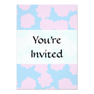 """Blue Sky with Pink Clouds Pattern. 5"""" X 7"""" Invitation Card"""