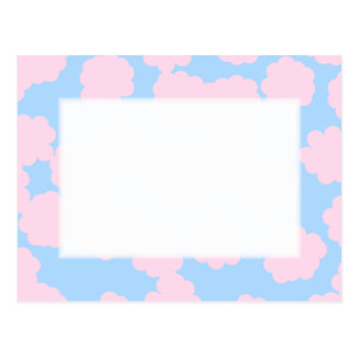 Blue Sky with Pink Clouds Pattern. Postcard
