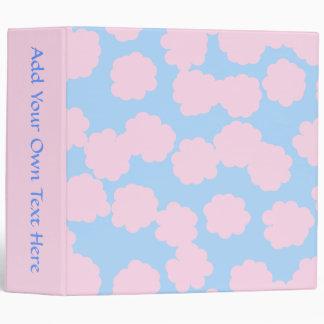 Blue Sky with Pink Clouds Pattern. Vinyl Binder