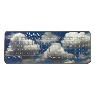 Blue Sky with Puffy White Clouds Add Your Name Wireless Keyboard