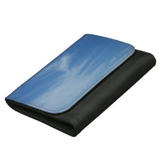 Blue Sky with White Clouds Abstract Nature Photo Leather Wallets