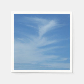Blue Sky with White Clouds Abstract Nature Photo Paper Napkins