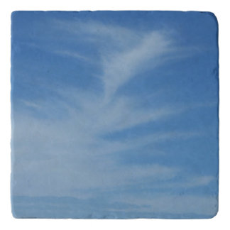 Blue Sky with White Clouds Abstract Nature Photo Trivet