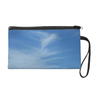 Blue Sky with White Clouds Abstract Nature Photo Wristlet