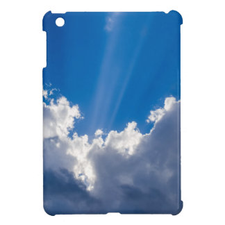 Blue sky with white clouds and ray of sunshine. iPad mini case