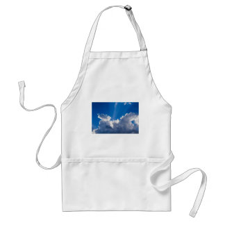 Blue sky with white clouds and ray of sunshine. standard apron