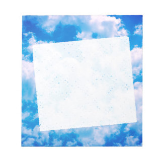 Blue sky with white clouds notepad