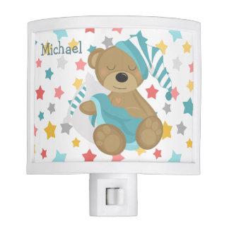 Blue Sleepy Baby Bear Stars Nite Lite
