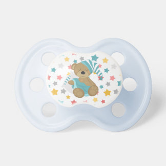 Blue Sleepy Baby Bear Stars Pacifier