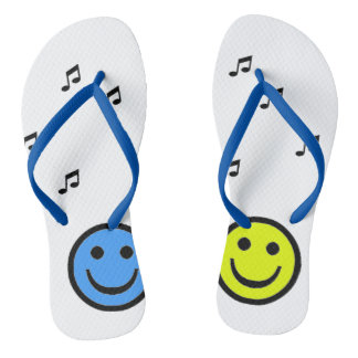Blue slipper and Yellow Smiley Music Flip Flops