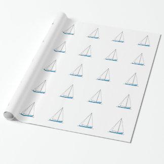 Blue Sloop Sailboats Wrapping Paper