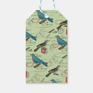 Blue small birds pack of gift tags
