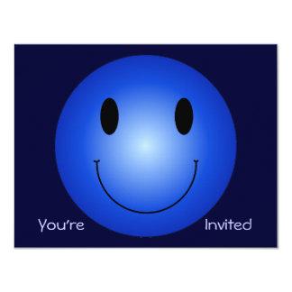 "Blue Smiley 4.25"" X 5.5"" Invitation Card"