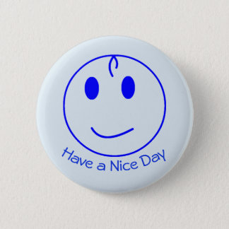 Blue Smiley Face 2 Inch Round Button
