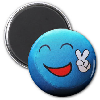 Blue Smiley Face giving Peace Sign Magnet
